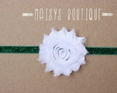 75% Off- White Red Green Polka Dot Shabby Flower Green Glitter Headband/ Newborn Headband/ Baby Headband/ Photo Prop