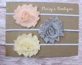 Set of 3- Baby Peach, Grey and Ivory Flower Headband Set/ Headband/ Newborn Headband/ Baby Headband/ Wedding/ Photo Prop