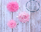 75% Off Hair Clip Set of 3- Dark Salmon Pink, Pink Love Hearts, Pink Mini Flower Clips/ Hair Clips/ Baby Hair/ Wedding/ Photo Prop
