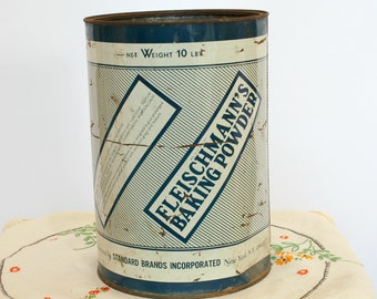 40's Vintage Tin Canister, Fleischmann's Baking Powder Tin, Large Painted Tin Can