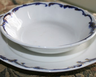 Ridgway England Edgewater Flo Blue Plate and Bowl