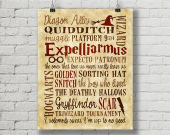 Harry Potter Fan Art Quotes Printable Digital Subway Art Typography Poster INSTANT DOWNLOAD