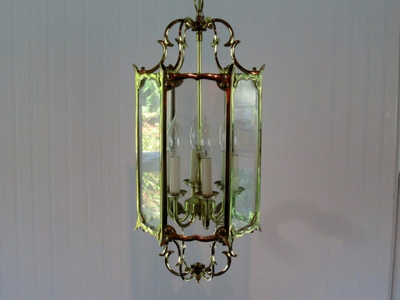 Vintage Solid Brass Hanging Foyer Light Fixture Hanging Lamp
