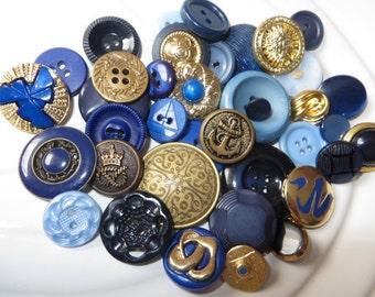 Brassy Blues Vintage Button Collection - 38 unique buttons