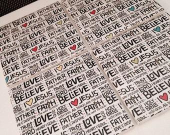 Jesus/Faith Heart Ceramic Tile Coasters *Set of 4*