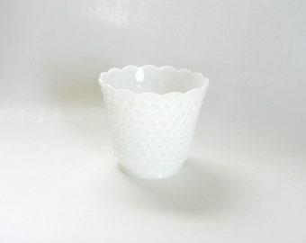 Fire King Hobnail Scalloped Milk Glass Planter Vase, Wedding Table Decor, Table Centerpiece