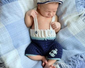 Newborn Hat and Long Shorts - Newsboy Hat - Shayne Set - Photo Prop - Newborn Boy Photo Prop