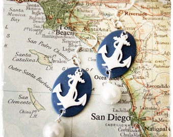 US Navy anchor cameo and pearl Earrings by Son and Sea FREE US shipping