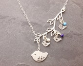 Mothers Necklace, 1-5 kids, birthstone necklace, mom and daughter, silver lariat necklace, grandmother, personalized jewelry, N3