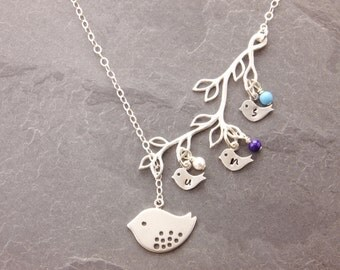 Mothers Necklace, 1-5 kids, birthstone necklace, mom and daughter, mothers day, lariat necklace, grandmother, baby bird necklace, N3