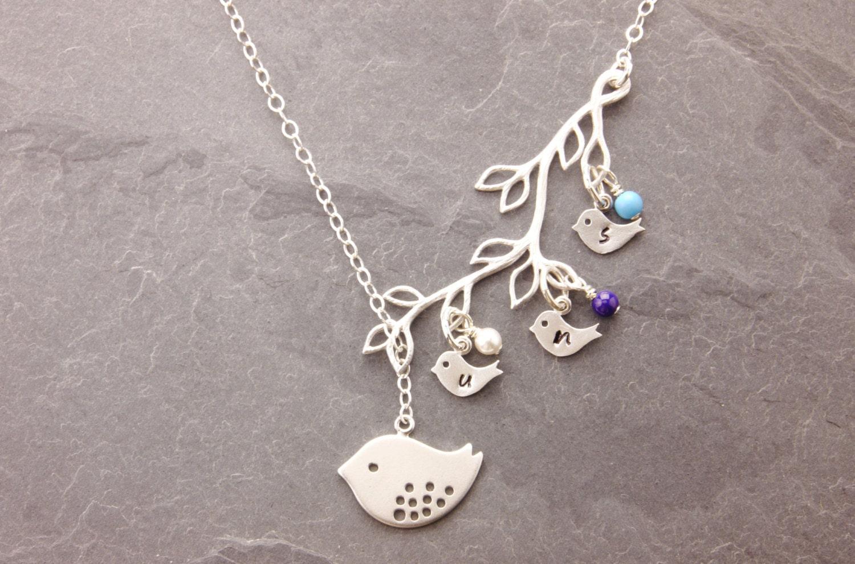 mothers necklace 1 5 kids birthstone necklace mom by. Black Bedroom Furniture Sets. Home Design Ideas