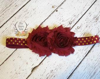 Burgandy Gold Baby Flower Headband  - Newborn Infant Baby Toddler Girls  - Metallic Gold Polka Dot Wine Burgundy Maroon