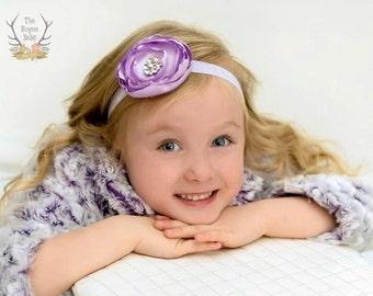 Light Purple Satin & Glitter Baby Headband - Lavender Newborn Flower Girl Adult Wedding Spring Pastel Rhinestone