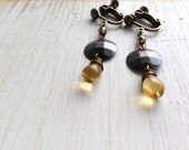 Yellow Teardrop with Antique Copper Metal Clip on Earrings, Dangle Clip Earrings, Boho Clip Earrings