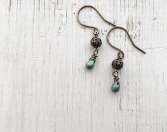 Forest Green Teardrop Earrings, Drop Earrings, Boho Earrings, Green Dangle Earrings