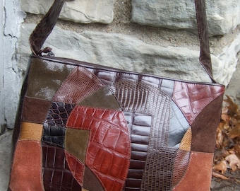 Embossed Brown Leather Patch Work Shoulder Bag c 1980s