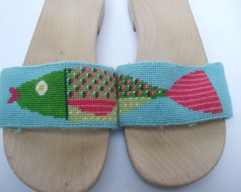 Unique Needlepoint Fish Design Sandals Made in Itlay Size 38