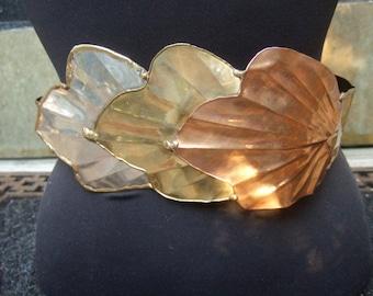 Unique Mixed Metal Massive Scale Leaf Design Belt c 1980s