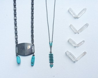 the Nameplate necklace -- vintage metal nameplate necklace with turquoise howelite beads