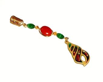 Dreadlock Jewelry - Red Jasper and Antique Gold Glitter Epoxy Loc Jewel