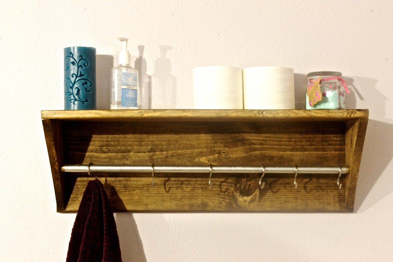 wood bathroom shelf towel rack bathroom decor by arrayanddisplay. Black Bedroom Furniture Sets. Home Design Ideas
