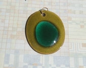 Vintage Copper and Enamel Oval Pendant - Handmade - 1960s