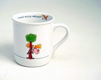 Cute Vintage Coffee Mug Love Romance Moose