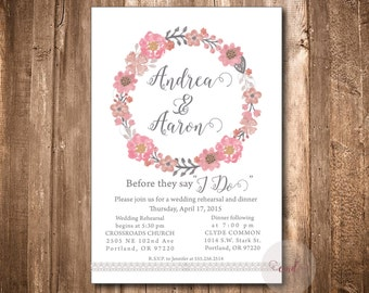 Wedding Rehearsal Invitation, Printed or Digital Wedding Rehearsal Invitation,Watercolor,Pink,Grey,Vintage,Wedding Rehearsal, Floral,Wedding