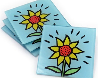 Sunflower Tempered Glass Coasters