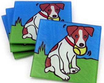 Jack Russell Terrier/Jack Russell Terrier Puppy/Dog/Puppy Tempered Glass Coasters
