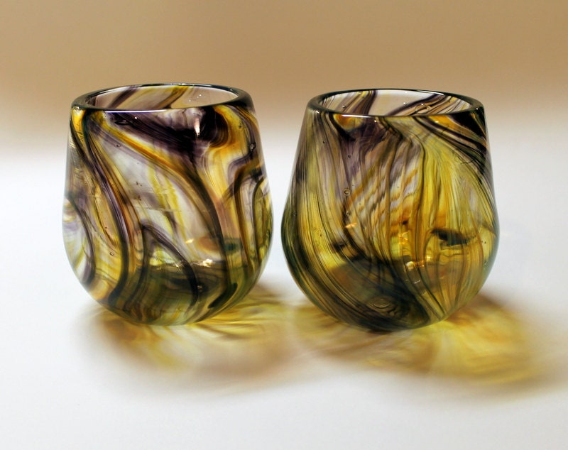 Set of two hand blown stemless wine glasses - Hand blown stemless wine glasses ...