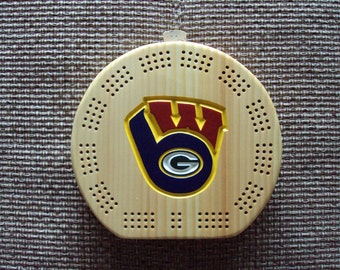 Rustic Cribbage Board - Green Bay Packers - Milwaukee Brewers - Wisconsin Badgers - Circle - Football Furniture Log Cabin Deer Camp Man Cave
