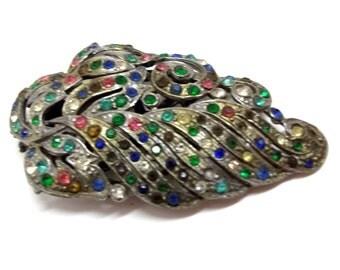 Multicolor Rhinestone Dress Clip 1920s Pot Metal Clip Art Nouveau Rhinestone Dress Clip Belt Clip Sash Clip Wedding Bridal DD 679