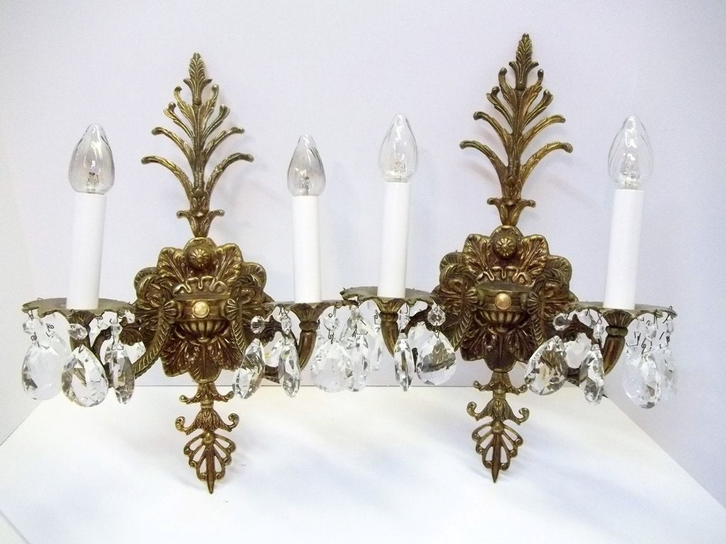 Vintage Crystal Wall Sconces : Vintage Ornate Brass Crystal Wall Sconce Pair 1940s Crystal