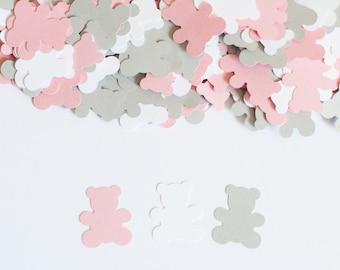 Teddy Bear Confetti, Girl Baby Shower, Teddy Bear Baby Shower Decor, Pink and Gray