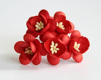 50 pcs - Red Cherry blossom paper flowers - Wholesale pack