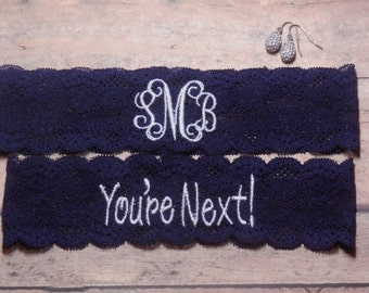 Monogrammed Garter, Monogram, Personalized Garter, Custom Garter, Navy Blue Garter, Blue Garter, Something Blue, You're Next Garter, Wedding