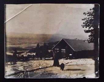 Original Antique Photograph Strange Dark Cabin Overlooking Valley