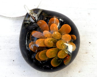 Blown Glass Implosion Pendant, Lampwork Boro Necklace, Handmade jewelry, Focal Bead Gold Flumed