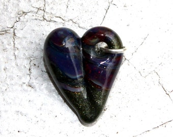 Heart Charm Glass, Lampwork Hand Blown Boro Charm, Heart Jewelry, Green Mini Tiny Baby Heart