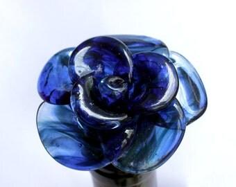 Rose Bottle Stopper Glass, Blue Rose Flower Stainless Steel Wine bottle stopper, Blown Lampwork Borosilicate