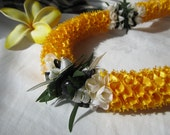 Hawaiian Ribbon Lei Yellow-Gold Kukui Nut Carnation Lei