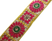 Kutch Embroidery Border in Neon Colors - Raw Silk Wide Border / Lace /  Embroidered Trim /  Sari Lace