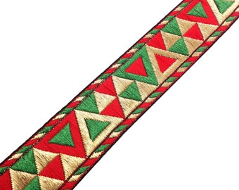 Aztec Pattern Jacquard Border in Red, Green and Gold - Border / Lace / Jacquard Trim /  Sari Lace