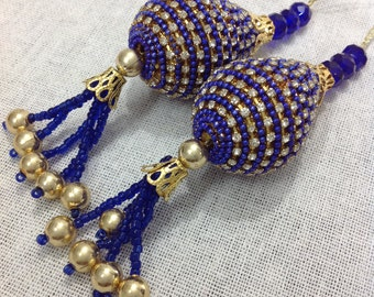 Royal Blue and Gold Handcrafted Glass Bead Tassel / Embellishment / Decoration / Women Dress Tassels / Curtain Tassels Made in India