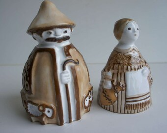 Terracotta Folk Art Signed Shepard And Wife
