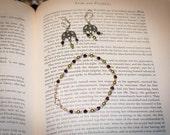 """Jane Austen/ Regency Style """"Garnet"""" Bead Bracelet and Earrings Set"""