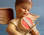 Brahm's Lullaby Anri Music Box Angel Reuge Vintage Hand Carved Wood Hand Painted