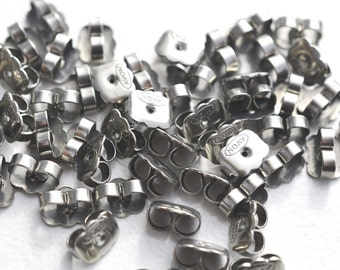 100 Pieces-Surgical Steel Butterfly Backs For Post Size.70mm -Surgical Steel Stoppers-Surgical Ear Nuts-Loose Earring Backs-Earring Backs
