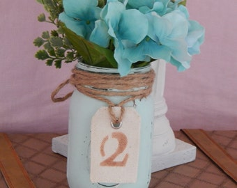 Painted Mason Jar- Blue Vase- Wedding Centerpiece with Stenciled Table Number
